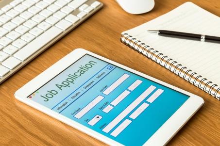 Digital tablet pc showing online job application form
